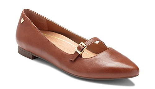(Vionic Women's Gem Delilah Ballet Flat - Ladies Pointed Mary Jane Flat with Concealed Orthotic Arch Support Mocha 8 W US)