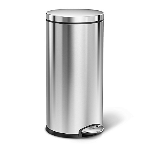 (simplehunan 35 Liter / 9 Gallon Round Step Trash Can, Brushed Stainless Steel)