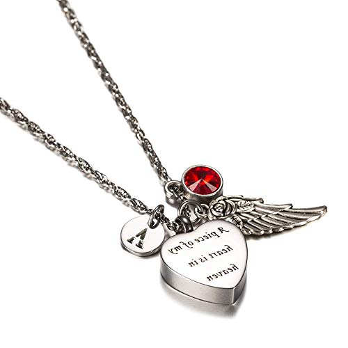 EoCot Stainless Steel Necklace for Women Men Heart with Birthstone, Angel Wings & 26 Letter Urn Necklace Pendant for Memorial Ashes with Keepsake Ash Jewelry January P]()