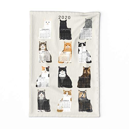 Roostery Spoonflower Tea Towel 2020 Cat Calendar Cat Lover Gift Linen Cotton
