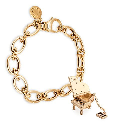 Charmulét CHARMULET 14k Plated Gold Charm Bracelet and Piano Charm Set - Gift Box Included by (14k Locket Bracelet)