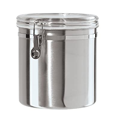 Oggi 130-Ounce Jumbo Stainless Steel Kitchen Airtight Canister with Clear Arylic Lid and Locking Clamp