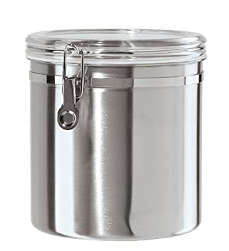 Oggi 150 Ounce Stainless Steel Airtight Canister With Clear Arylic Lid And  Locking Clamp