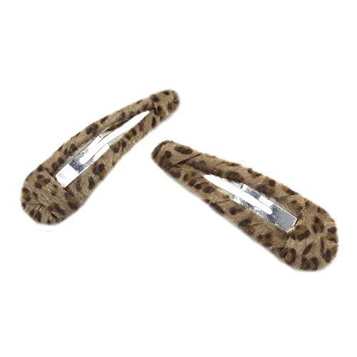 - 2 Pack Leopard Print Velvet Snap Clips Hair Clips Water-drop Hair Barrettes Hair Pins Hair Slide Stylish for Women Girl (Water drop)
