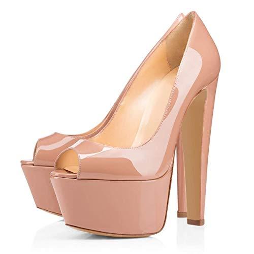 Heel peep Court Platform Women Pumps Sandal Shoes Nude Block Heels 16cm Toe High Pan Caitlin O14gXw