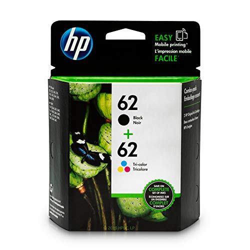 HP 62 Black & Tri-color Ink Cartridges 2 Cartridges (C2P04AN C2P06AN) for HP ENVY 5540 5541 5542 5543 5544 5545 5547 5548 5549 5640 5642 5643 5644 5660 5661 5663 5664 5665 7640 7643 7644 7645 ()