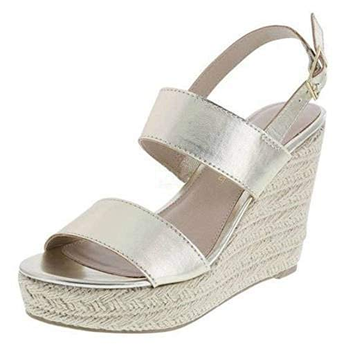 Montego Bay Womens Whimsy Espadrille Woven Wedge Platform Sandals Shoes (12, Gold)