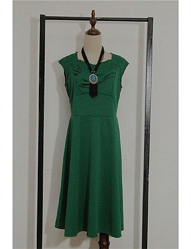 PU&PU Robe Aux femmes Vintage / Soirée , Couleur Pleine Col Arrondi Midi Coton , blue-s , blue-s