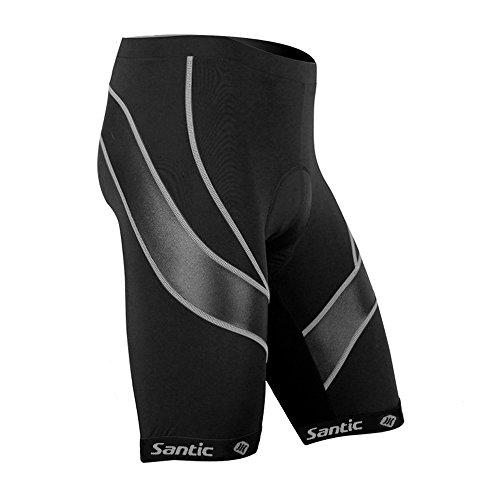 SANTIC Men's Cycling Shorts Biking Bicycle Bike Pants Half Pants 4D COOLMAX Padded Bike Shorts Black L For Sale