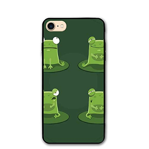 Haixia IPhone 7/8 Protective Case Cover 4.7 Inch Funny Funny Muzzy Frog On Lily Pad In Pond Hunting Tasty Fly Expressions Cartoon Animal Full Bottle Green