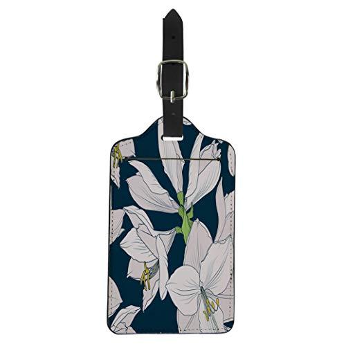 Pinbeam Luggage Tag Hippeastrum Amaryllis Lilly Blooming Flowers Beige Pink Suitcase Baggage Label