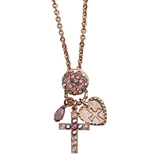 "Mariana ""Flamingo Rose Goldtone Charm Blossom Cross Heart Crystal Necklace, 25"" Pink Iridescent 52021/3 319rg"