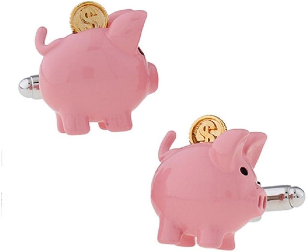MRCUFF Piggy Bank Savings Coin Pig Pair Cufflinks in a Presentation Gift Box & Polishing Cloth