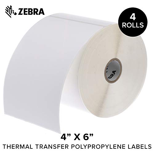 - Zebra - 4 x 6 in Thermal Transfer Polypropylene Labels, PolyPro 3000T Permanent Adhesive Shipping Labels, Zebra Desktop Printer Compatible, 1 in Core - 4 Rolls