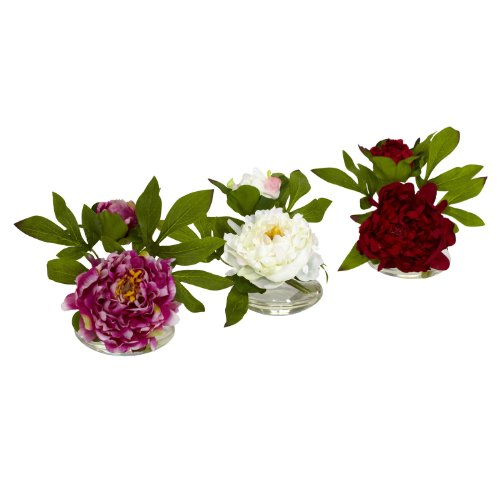 Nearly Natural 4789 Peony with Glass Vase Assorted, Set of 3