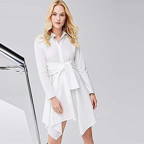 XGDLYQ algodón Blanco ceñido con Dobladillo Dobladillo asimétrico ...