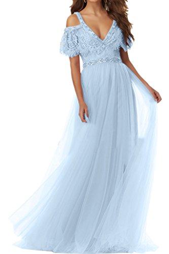 Tuell Ivydressing Promkleid Hochwertig Damen Himmelblau Aermel V Abendkleid Festkleid Ausschnitt Kurz Partykleid ACSpx
