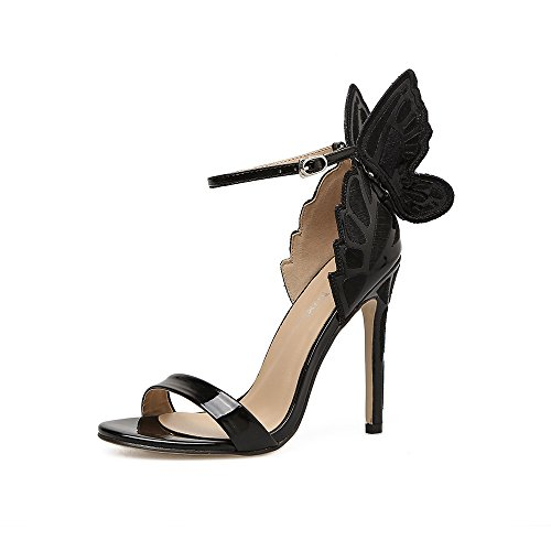 ZHZNVX El nuevo alto talón zapatos elegantes zapatos de hebilla mariposa estéreo con fino estilo romano de rocío de zapatos de mujer black
