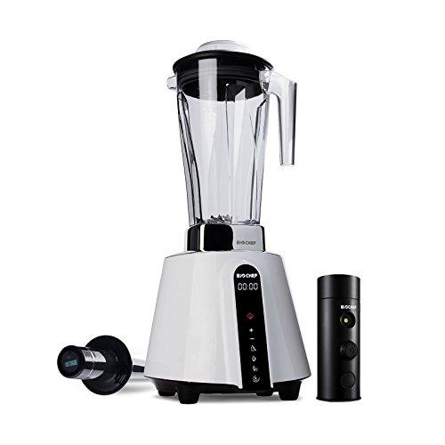 BioChef Living Food Vacuum Blender - 1680 Watt Motor, 2L BPA Free Jug - High Speed Blender with Temperature Tamper + Vacuum Blending Accessory with Vacuum Seal Bags (Black)