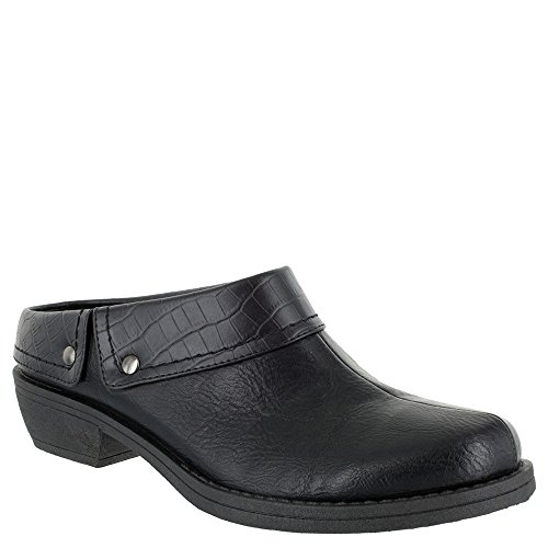 (Easy Street Women's Becca Mule, Black/Croco, 6 2W US)