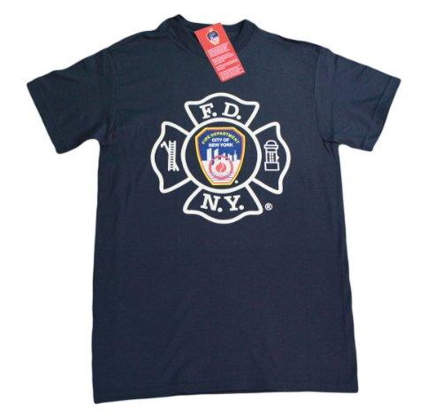 FDNY Mens Short Sleeve Screen Print T-Shirt Navy Large Athletic Screen Print T-shirt
