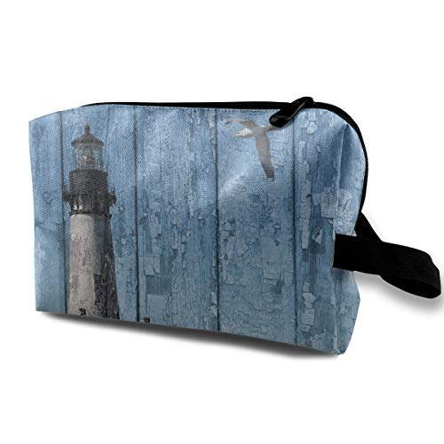 Janmhe Zoeba Rustic Lighthouse Seagull Beach Coastal Cottage Portable Travel Makeup Cosmetic Bags OrganizerMultifunction Pouch Case Toiletry Bags