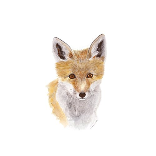 Baby Fox Pup Woodland Watercolor Nursery Wall Art Print Available In Various Sizes