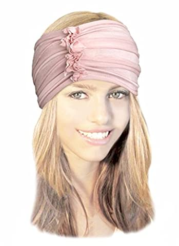 Champagne Pink Wide Soft Cotton Head-band Turban Hair-band Boho Chic Head-wrap ShariRose (Champagne pink - (Floral Wrap Around Watch)