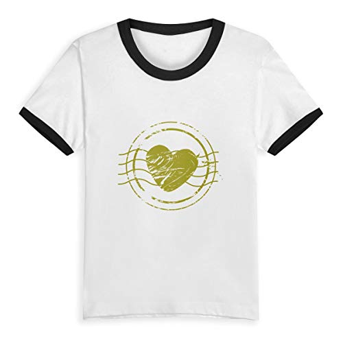 CZHYMYZ Retro Wedding Postcard Stamps Kids Boys Girls Round Neck Short Sleeve Tee Jersey Contrast Color Tshirt by CZHYMYZ