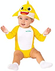 Transform your little one into the sweet baby shark in this officially licensed baby shark Newborn costume. Practice your baby shark motions and watch as they light-up with delight as you Doo Doo Doo Doo Doo Doo! Includes yellow Newborn onesi...