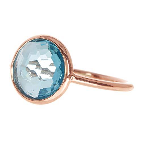 Sky Blue Quartz 18k Rose Gold Clad Wholesale Gemstone Fashion Jewelry Round Ring