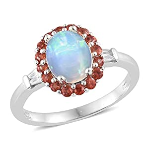 925 Sterling Silver Platinum Plated Oval Opal Multi Gemstone Fashion Ring For Women Size 10