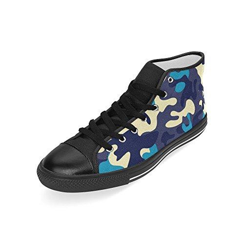 Interestprint Cordones Azules Y Amarillos Camo Classic High Top Zapatillas De Deporte Moda Zapatos De Lona