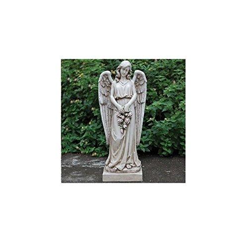 36'' Joseph's Studio Angel Holding a Rose Wreath Religious Outdoor Garden Statue by Roman