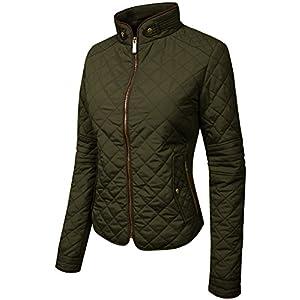 NE PEOPLE Womens Lightweight Quilted Zip Jacket, NEWJ22-OLIVE, Medium