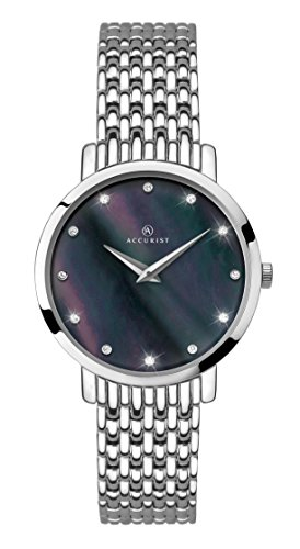 Accurist Ladies Analogue Watch With Black Mother of Pearl Dial and Stainless Steel Bracelet 8158