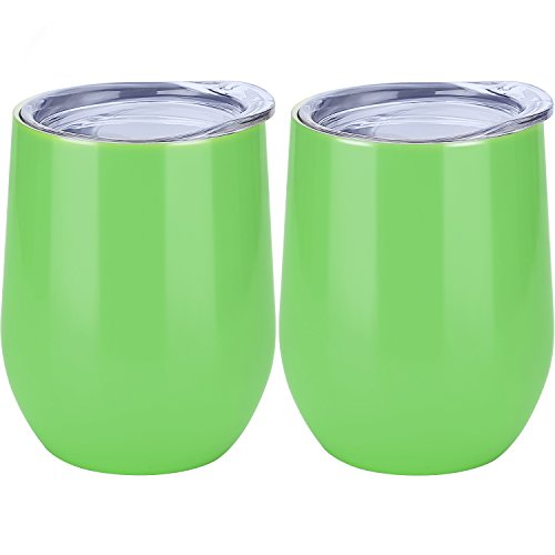 Skylety 12 oz Double-insulated Stemless Glass, Stainless Steel Tumbler Cup with Lids for Wine, Coffee, Drinks, Champagne, Cocktails, 2 Pieces (Dark Green)