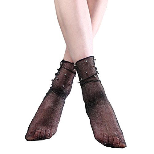 Elevin(TM)Women Summer Thin Lace Transparent Elastic Short Silk Stockings Ankle Socks (A)
