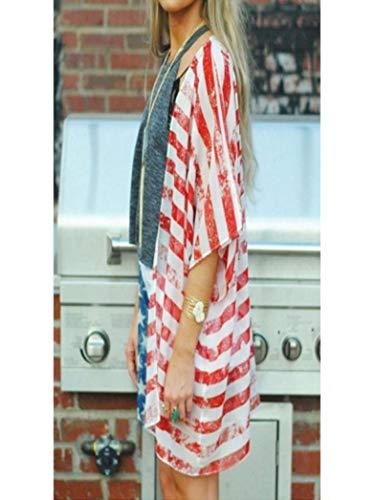 07c1a3e981 GOVOW Women American Flag Print Beach Loose Shawl Kimono Cardigan Top Cover  Ups Swimwear Women