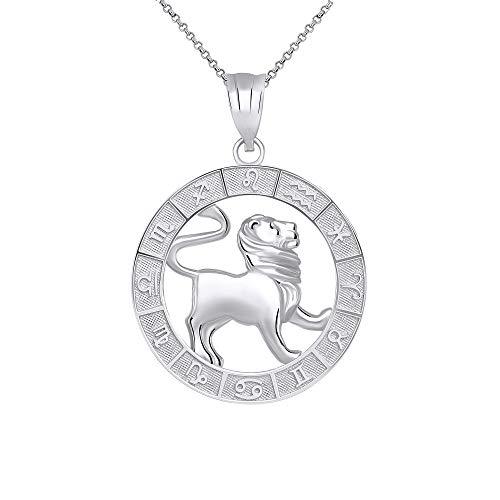 CaliRoseJewelry Sterling Silver Leo Zodiac Pendant Necklace, 16