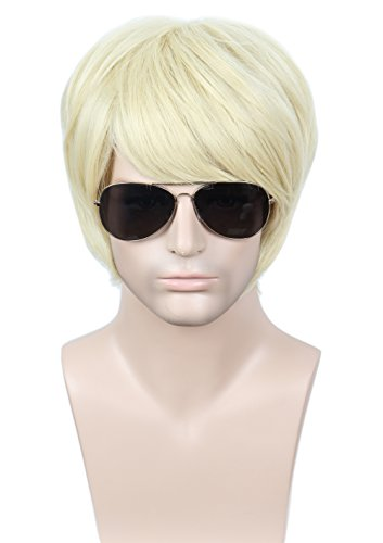 Linfairy Unisex Short Blonde Straight Cosplay Wig Halloween Costume Wig for Men]()