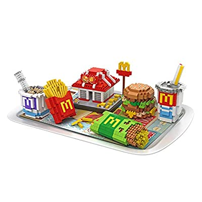 LOZ McDonald's Food Set Shop NO.9394 Mini Construction Building Micro Blocks Compatible Nano Chistmas Bithday Gifts for Kids DIY Figures Assemble Educational Toys Model Kits: Toys & Games