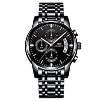 KASHIDUN Men's Watches Luxury Sports Casual Quartz Wristwatches Waterproof Chronograph Calendar Date Stainless Steel Band Black Color (Y 3)