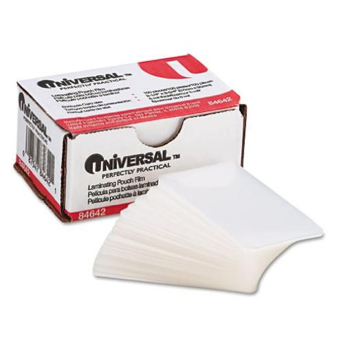 Universal Office Products Clear Laminating Pouches, 5 mil, 2 1/4 X 3 3/4, Business Card Size, 100/Box 84642