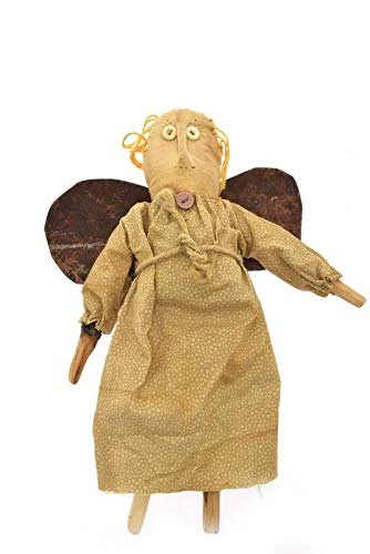 Primitive Folk Art Hand Made Angel Doll Beige Metal Wings One of A Kind 11.5