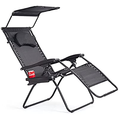 Goplus Folding Zero Gravity Lounge Chair Wide Recliner for Outdoor Beach Patio Pool w/Shade Canopy & Cup Holder