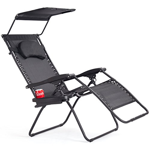 Goplus Folding Zero Gravity Lounge Chair Wide Recliner For