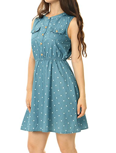 Light K Denim Blue Waist Above Dress Allegra Women's Dot Knee Sleeveless Elastic Polka PzdqHq