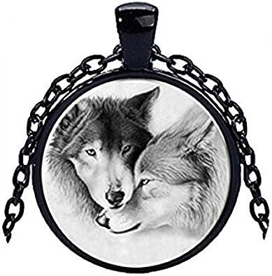 Wolf aullidos a la Luna Colgante Collar-Reino Unido Stock