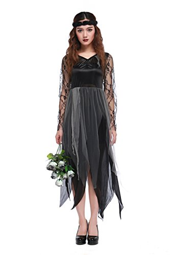Halloween The Bride Princess Costumes (Women's Vampire Zombie Ghost Bride Cosplay Costume Black Sleeved Long)